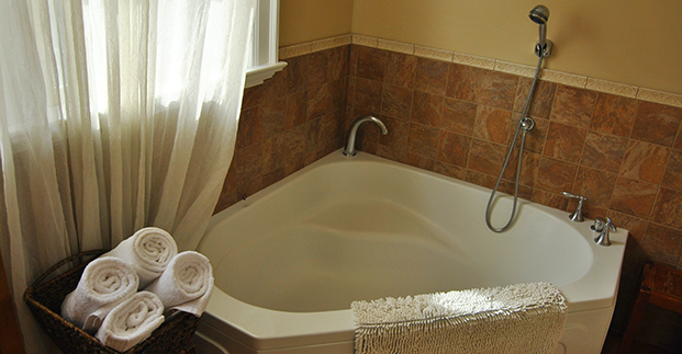 Spacious tub and hand-held shower in each birth suite.
