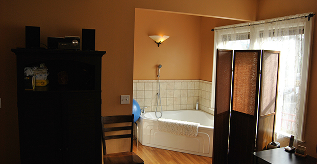 We created nooks for our birth tubs, promoting a feeling of privacy.